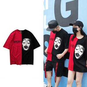 Homens Desiner Marca Camiseta Algodão Splice Contraste Cor Palhaço Vampiro Carta Imprimir Casal Vestuário Hip Hop Tee frete grátis