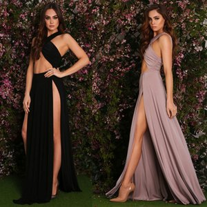 sexy, fashion, noble, youth, beautiful, big code, свободные Асимметричные платья макси сплошной цвет Холтер рукавов Y3D102