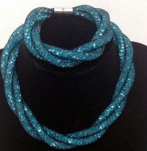 Charm Bead Jewelry Mesh Mesh Colors Colori Gioielli Donne Set Set di collana magnetica / braccialetti per cristallo Crystal Wrap Chiush Set caldo Set di Choker Collac Xeuu