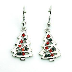 Moda Takılar Küpe Gümüş Kaplama Dangle Rhinestone Noel Ağacı Küpe Kadınlar Için Noel Dekorasyon Hediyeler Takı