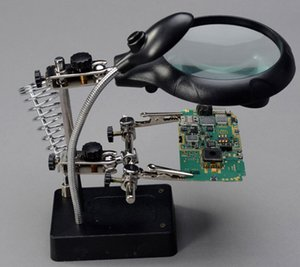 A multiple of a magnifying glass with a circuit board soldering station 220V auxiliary repair tools MG16129-C 6pcs a bag