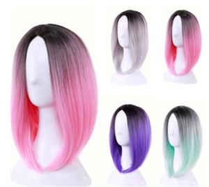 Moda Sentetik Saç Peruk Kısa Bob Peruk Ombre Renk 12 inç yok dantel ön peruk Isıya Dayanıklı Sentetik Saç peruk Popüler Tarzı düz