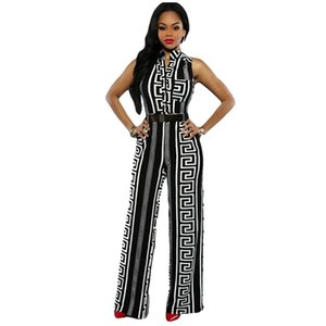 Atacado- Echoine 2017 Mulheres Ampla Perna Jumpsuit Plus Size Macacões Calças Compridas Outfits Mulheres Preto Estampado Ouro Playsuits Senhoras