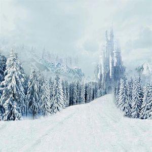 Inverno Fotografia Scenic Backdrops A neve cobriu o Pine Trees Montanha Castelo Vintage Crianças Crianças Wedding Photo Background Vinyl