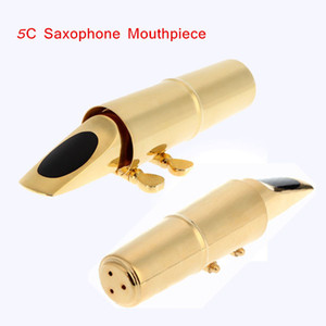 Gold Plating Jazz Alto 5C Sax Saxophone Mouthpiece Metal with Cap Saxophone Accessories Top Quality