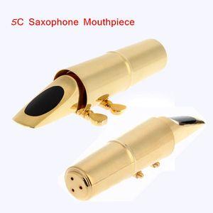 Placage Or Jazz Alto 5C Sax Saxophone Embouchure Métal avec Cap Saxophone Accessoires Top Qualité