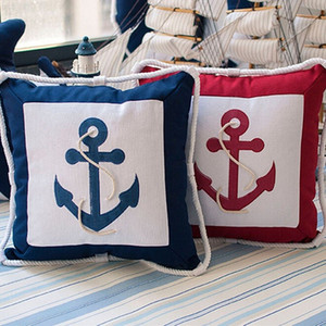 Wholesale-New 45*45cm Mediterranean Rudder Anchor Sailing Boat Canvas Throw Pillow Cover Office Home Supplies Pillowcase Pads