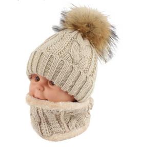 Crianças crianças Chapéu De Inverno Cachecol conjunto de Pele De Guaxinim Bola Chapéu Pom pom Gorros Do Bebê Meninas Quente Fleece Cap Scarf Set