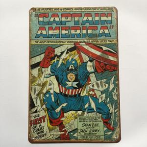 Capitão América Super herói Retro Vintage Metal estanho sinal cartaz para Homem Caverna Garagem chique gasto adesivo de parede Café Bar decoração da sua casa