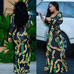 Femmes Automne Maxi robe africaine traditionnelle Imprimer Robe longue Dashiki élastique élégante dames moulante chaîne Vintage taille plus imprimé