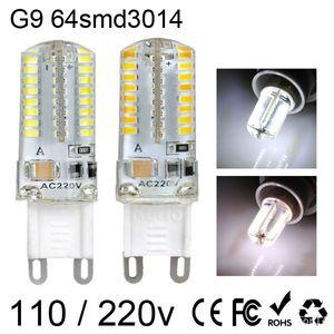 G9 G4 E14 3W 64 SMD светодиодных лампы свет 3014 Теплых белый / холодной белого LED Corn огни AC 220V 110V
