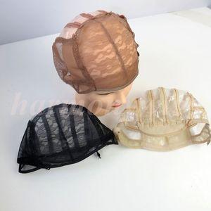Peruca bonés para fazer perucas esticar rendas tecelagem cap alças reguláveis voltar extensões humanas peruca ferramentas