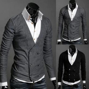 Tight-fitting double-breasted sweater men's boutique England fleece sweater jacket wild little jacket Men's Knitwea Sweater male Sweaters