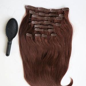 220g 20 Clip de 22 pulgadas en extensiones de cabello humano Pelo brasileño 33 # color Remy Pelo Recto teje 10 unids / set peine libre