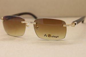 Frete grátis New Rimless Big Diamante T8200497 Preto chifre de búfalo Sunglasses Men frete grátis Vidros de sol Frame Size: 58-18-140mm