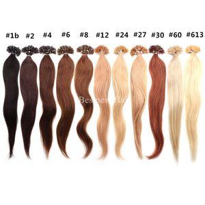 "100g 14 ""16"" 18 ""20"" 22 ""24"" Prebunded Italian Keratin unha dica u ponta Fusion indiano Remy extensões de cabelo humano 100 s / pcs"