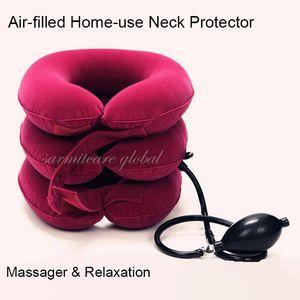 000377 - Uso en el hogar Protector de cuello lleno de aire Masajeador para el cuello Relajación Postura Corrector Soporte para la abrazadera Envío gratuito