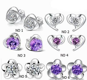 Стерлингового серебра 925 в форме сердца серьги стержня с Цирконом серьги стержня для женщин 6 конструкций уха серьги стержня KY