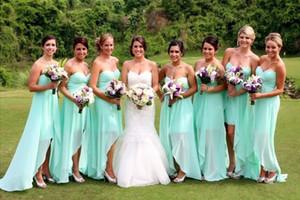 2016 Country Bridesmaid Dresses 짧은 하이 로우 길이 여름 세이지 민트 연인 웨딩 게스트 착용 명예의 하녀 정장 플러스 사이즈 가운