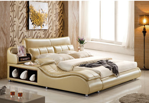 ENVÍO LIBRE genuino cama de cuero estilo elegante doble amarillo PERSONA MODA MODERNA BUENA CALIDAD 180 * 200cm (A56D)
