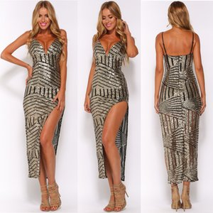 Bayan Elbiseler Sequins Bölünmüş Abiye Backless Gelinlik Modelleri Omuz Sapanlar Elbiseler Akşam Giymek