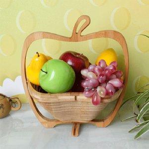 سلال الفاكهة الإبداعية طوي مقاومة للتآكل بسيطة سلال خشبية المحمولة رائعة عملية أبل الشكل Skep وصول جديد 16ad ب
