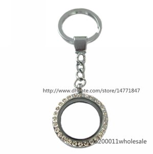 Sparkling Round Magnetic floating locket Keychain zinc alloy floating living locket Free shipping