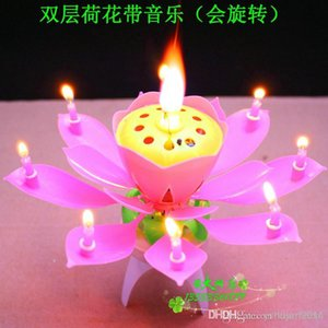 2014 neue Lotus Music Kerzen Lotus Petal Hochzeit Geburtstags Party Blumen Musik Kerze Lotus Stil
