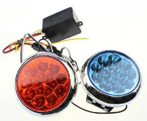 Бесплатная доставка светодиодные стробоскопы круглый красный и синий мотоцикл 12 В мигалкой