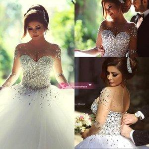 Sheer Tule vestido de baile vestidos de casamento de 2020 com Illusion mangas compridas Crew Neck ata acima para trás lantejoulas frisado pérola vestidos consideravelmente nupcial BO7695