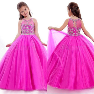 Lovely Girls Pageant Dresses 2015 Rachel Allen Sheer Jewel Neck con appliqued perline lunghezza bambino Pageant Ball Gowns BO9955