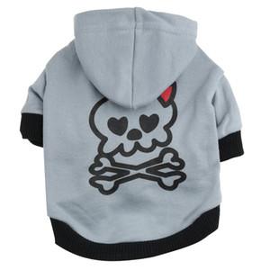 Natal e hallowee Presentes Brasão roupas para cachorros Outono Inverno Crânio Cotton Hoodie T-shirt para cães Dog Vestuário com uma capa camisola Teddy