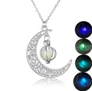 Moda donna pietra brillare luna fascino luminoso pietra collane pendenti gioielli moda all'ingrosso dichiarazione collana regalo di Natale