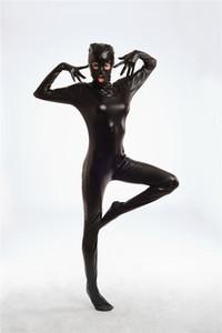 Sexy Erotic Faux Leather Zentai Traje Venta Caliente Nuevo Cuerpo Cubierto Completo Zentai Rojo Negro Fetish Bondage Spandex Leotard Catsuit