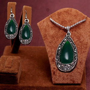 2 STÜCKE 2014 Neue Ankunft Trendy antike silber grün wassertropfen perlen Design Halskette + Ohrringe Schmuck Set frauen