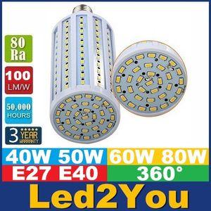 E40 B22 E27 del maíz del LED SMD 5730 luces de alta potencia de 40W 50W 60W 80W bombillas LED de luz 360 Ángulo de la CA 85-265V ce ul