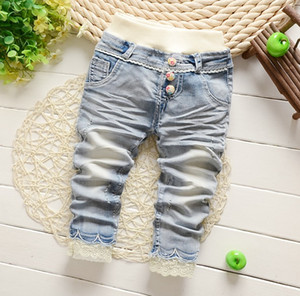 New Spring Girls Flower Lace Pearl Beads Butterfly Denim Pants Children Clothing Floral Fashion Pant Kisd Clothes Bowknot Jeans D6309