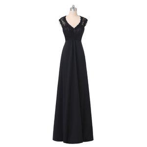 Real Photo Long Black Evening Dresses 2019 V-Neck Cap Sleeve Lace Chiffon Floor Length Party Gowns Zipper Back Custom Made E222