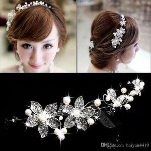 Stok Kafa Düğün Saç Aksesuarları Sahte İnci Çiçeği Parlak Kristal Tiara Gelin Takı Yeni Ucuz Kaplıca Gelin Tiaras Taçlar