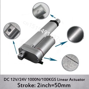 DC 12V 24V 2inch 50mm mini electric linear actuator , 1000N 100kgs load 10mm s speed linear actuators without mounting brackets