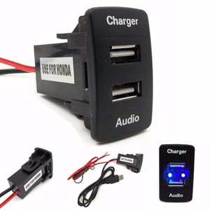 Auto 5V 2.1A Presa interfaccia USB Caricatore e ingresso USB Audio Presa utilizzabile per Honda Civic Crv Fit accord hrv