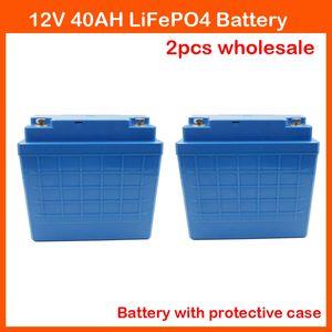 12 V Lithium batterie 12 V 40AH LiFePO4 Für EBike Audio Ausrüstung Trolling Motor Eisbohrer mit 14,6 V 5A Ladegerät 2 STÜCKE Großhandel
