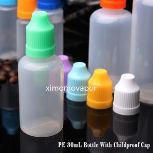 30 ml E Liquid bottles E-Cigarette PE Needle Tips Plastic Dropper Bottle 30ml Child Proof Caps Empty E-Liquid Oil Bot