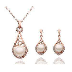 Rose 18 K 39oreille en or bijoux Sets mariée mariage strass pierres précieuses boucles d'oreilles Collier et bagues bijoux ensemble platine-plaqué-0018LD