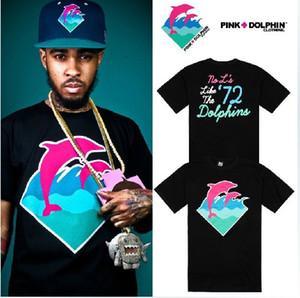 New Summer Fashion street style imprimé dauphin t-shirt dauphin rose t-shirt hip hop tee shirts grande taille