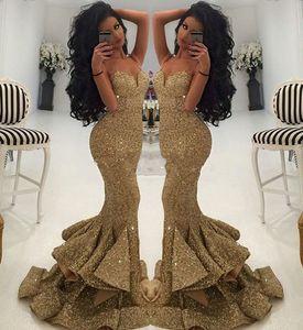 Africano Bling Ouro Lantejoula Sereia Trompete Prom Dresses 2019 Querida Sweep Trem Dividir Longo Pageant Festa Formal Vestidos de Noite feito Sob Encomenda