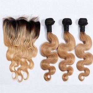 Bundles vergini peruviani dei capelli umani Honey Blonde Virgin Body Wave con chiusura frontale in pizzo Strawberry Blonde Hair 3Bundles con 13 * 4 Frontal