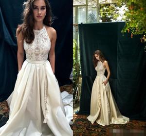 Lihi Hod 2019 robes de mariée en dentelle Boho Ivoire avec poche élégant bijou décolleté retour Zipper une ligne plage robes de mariée sur mesure