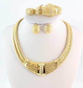 Marca nueva moda 18 K chapado en oro collar pulsera anillo pendiente de la joyería cristalina de la vendimia de la boda nupcial sistemas de la joyería