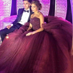 2020 Bling Burgundy Quinceanera Ball Gown Dresses Sweetheart Crystal Beads Tulle Sleeveless Puffy Sweet 16 Birthday Party Prom Evening Gowns